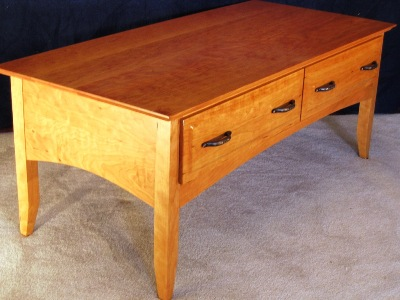 "Cherry Cofee Table with two 6"" Drawers"