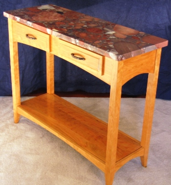 Cherry Granite Topped Table with Shelf