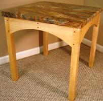 Single Front View Granite Top Table