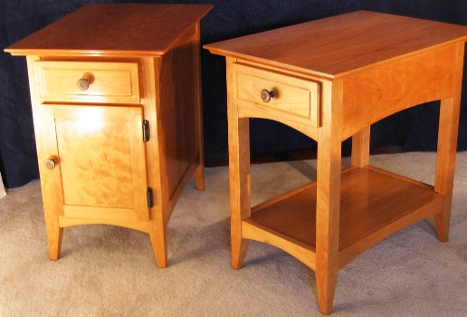 Cherry Shaker Side Tables (Cabinet and Open Design)
